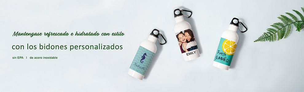 Bindones de agua persoalizados con fotografia