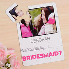 Rompecabezas blanco como invitación personalizada, Quiéres ser mi         ? blanco Will You Be My Bridesmaid Invitation Puzzle