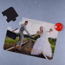 Rompecabezas magnético como invitación personalizada de los resien casados