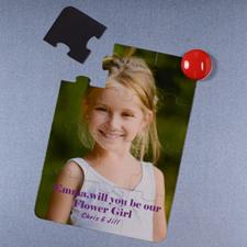 Rompecabezas magnéticos y personalizados como invitación, Quiéres ser mi niña de flores