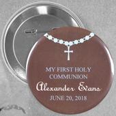 Broche alfiler redondo de 5.7 cm para niño con diseño de bautizo con rosario