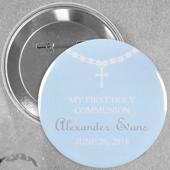 Broche alfiler redondo de 5.7 cm para niño con diseño de bautizo color celeste con rosario