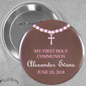 Broche alfiler redondo de 5.7 cm para niña con diseño de bautizo con rosario