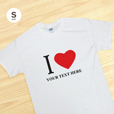 Camiseta personalizada I Love blanca tamaño pequeño para adultos