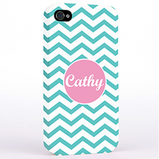 Personalized Aqua Chevron iPhone 4 Hard Case Cover