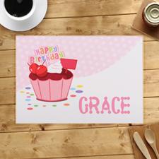 Alfombrillas de cupcakes personalizadas para el primer cumpleaños de una chica