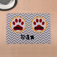 Símbolo personalizado en gris, impresión de pata roja, alfombra de comida para mascotas.