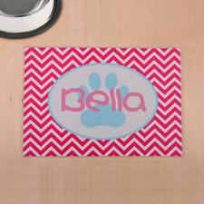 Personalized Fuchsia símbolos Aqua Huella de pata Imprimir Alfombra de comida para mascotas
