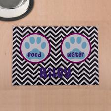 Símbolos negros personalizados Aqua huella de pata Esterilla para el lugar de comida para mascotas