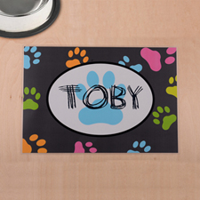 Impresión de patas de colores personalizados y alfombrilla gris para comida de mascotas