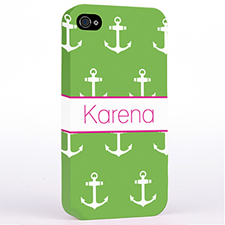 Personalized Lime And White Cute Anchors Hard Case Cover