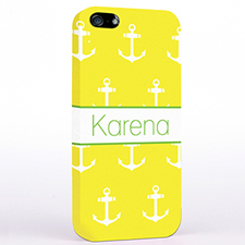 Personalized Yellow And White Cute Anchors iPhone Case