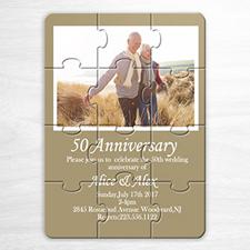 Rompecabezas como invitación personalizada para bodas de color dorado con foto