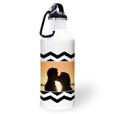 Botella de agua personalizada con foto de símbolos negros