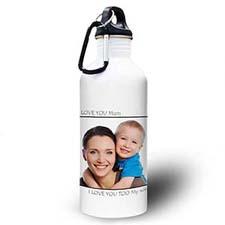 Botella de agua personalizada con foto negra Picture Perfect Water Bottle