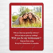 Rompecabezas rojo como invitación personalizada con foto a la boda