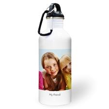 Botella de agua personalizada con foto negra y un cuadro de texto