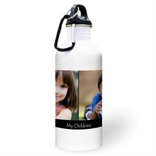 Botella de agua personalizada con foto negra, colage de con dos cuadros de texto