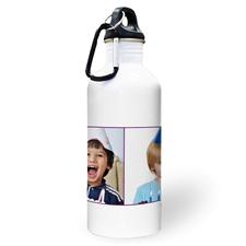 Botella de agua personalizada con colage de dos fotos de color púrpura y dos cuadros de texto.