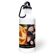 Botella de agua personalizada con foto negra, colage de tres ccon dos cuadros de texto