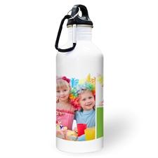 Botella de agua personalizada con colaje de dos fotos de color lima y dos cuadros de texto