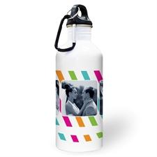 Botella de agua personalizada con Foto y Rayas de colores con colaje de tres y cuadro de texto