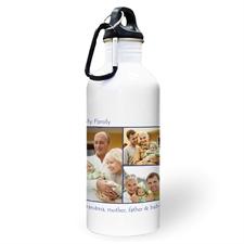 Botella de agua personalizada con colage marino de tres fotos y con dos cuadros de texto