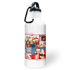 Botella de agua personalizada con colage de seis fotos de color rojo y dos cuadros de texto.