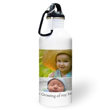 Botella de agua personalizada con colaje de cuatro fotos de color lima y dos cuadros de texto
