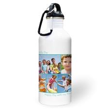 Botella de agua personalizada con foto Aqua con colage de cinco de dos cuadros de texto