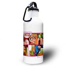 Botella de agua personalizada con colage de cinco foto de color rosado caliente on dos cuadros de texto.