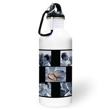 Botella de agua personalizada con foto negra, colage de cinco