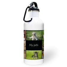 Botella de agua personalizada con foto negra con colage de ocho
