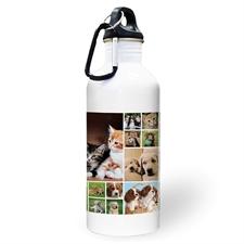 Botella de agua personalizada con colaje de dieciocho fotos de color lima y dos cuadros de texto