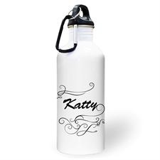 Botella de agua con foto y simplemente personalizada en remolino