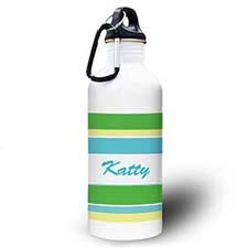 Botella de agua personalizada Foto verde de rayas amarillas