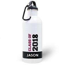 Botella de agua personalizada con foto negra de la Clase 2020