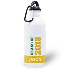 Botella de agua amarilla personalizada con foto de la clase de 2020