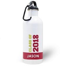 Botella de agua personalizada con foto de la clase de 2020 e color rojo