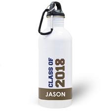 Botella de agua personalizada con foto de chocolate de la clase 2020