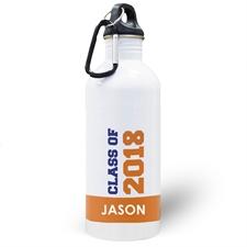 Botella de agua naranja personalizada de la clase de 2020