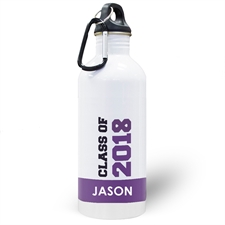 Botella de agua de color púrpura personalizada con la clase de 2020