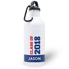 Botella de agua personalizada con foto azul Clase de2020