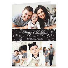 Black 4 Collage Personalized Christmas Greeting Card