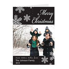 Personalized Snowy Holiday Black Christmas Card