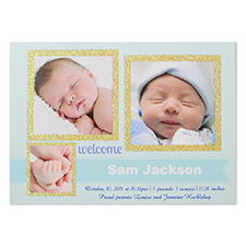 Glitter Welcomed Wonder Boy Personalized Photo Birth Announcement Party Invitation Card