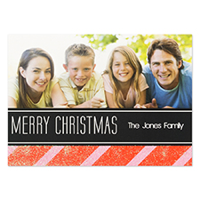 Personalized Red Christmas Glitter Invitation Cards