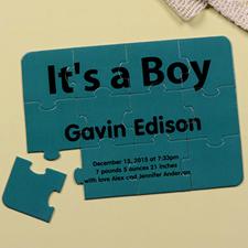 Rompecabezas como carta de anuncio de nacimiento, ¡Es un niño!