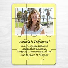 Rompecabezas amarillo como invitación personlaizada con foto