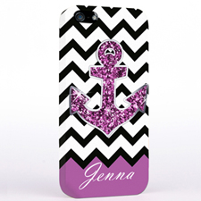 Personalized Glitter Purple Anchor Black Chevron iPhone Case